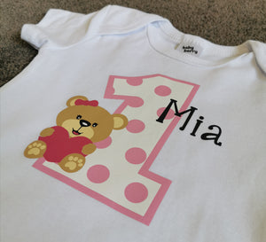 Teddy bear birthday bodysuit