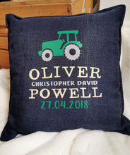 Load image into Gallery viewer, Navy Tractor cushion
