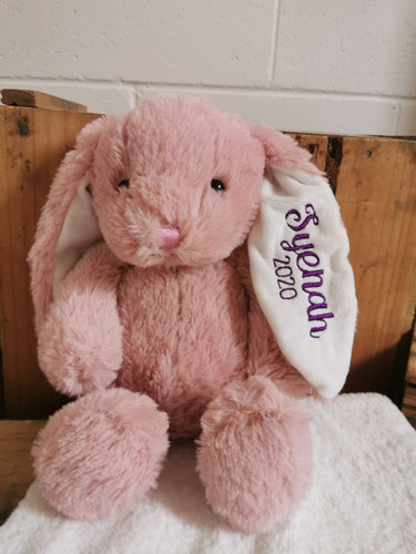 Pink plush bunny personalised