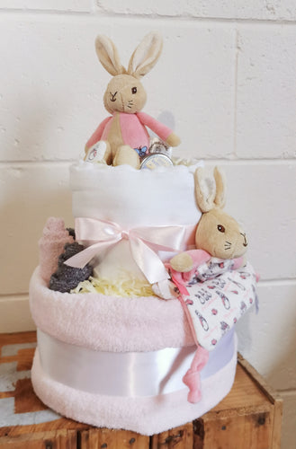 Flopsy Peter Rabbit 2 tier nappy cake