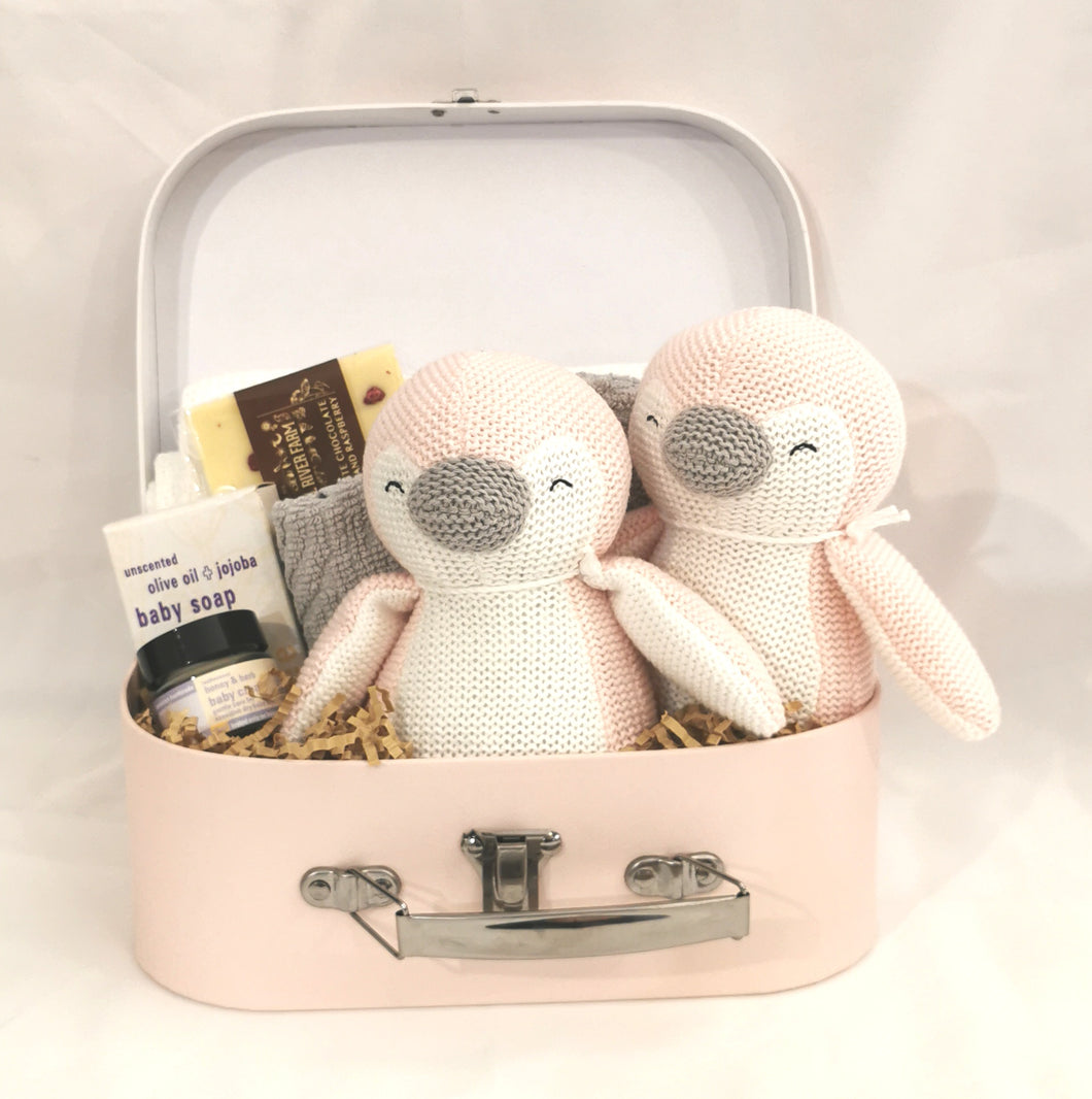 Twins Knitted Penguin Suitcase Gift Set - Girl