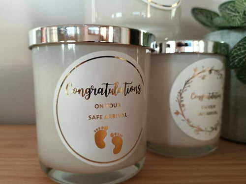 Foot Prints Congratulations On Your Safe Arrival  - ECO U Candle