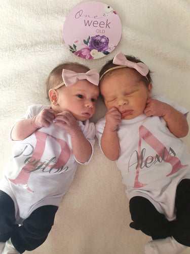Twin Name Announcement Bodysuits