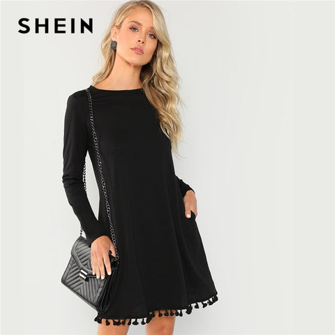 SHEIN Black Office Lady Party Tassel Hem Pocket Long Sleeve Natural Waist  Solid Dress 2018 Autumn c685de25b2db