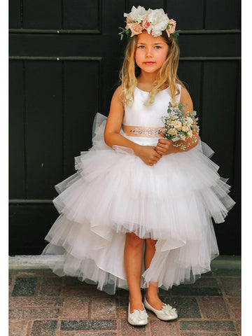 Girls High Low Tulle Skirt Flower Girl Dress