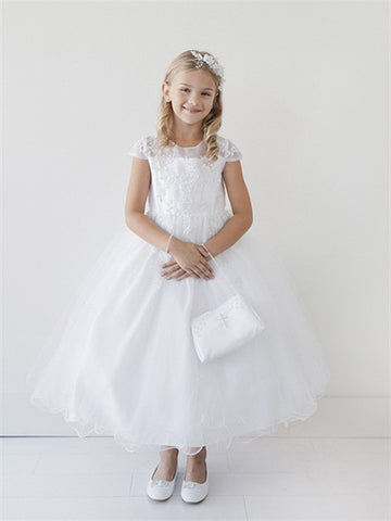 Girls Cap Sleeve Illusion Neckline First Communion Dress