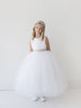 Girls Satin Bodice and Tulle Long Flower Girl Dress