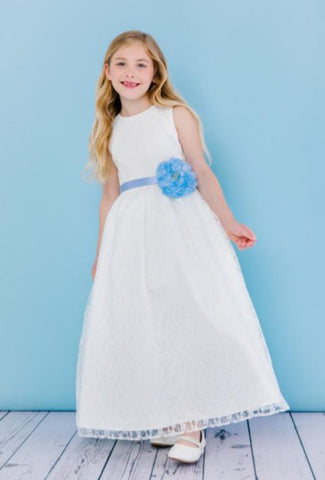 Girls Floor Length Floral Lace Flower Girl Dress