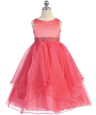 Girls Coral Simple Satin and Organza Dress
