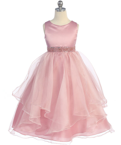 Girls Dusty Rose Simple Satin and Organza Dress