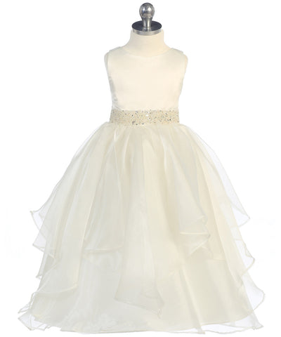 Girls Ivory Simple Satin and Organza Dress