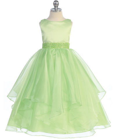 Girls Lime Simple Satin and Organza Dress