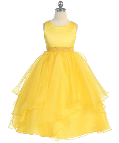 Girls Yellow Simple Satin and Organza Dress