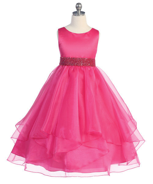 Girls Fuchsia Simple Satin and Organza Dress