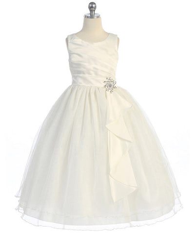 Girls Satin Surplice Ivory Top Dress