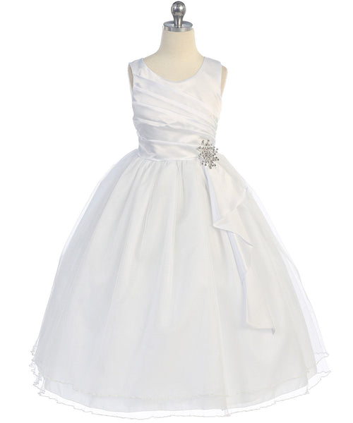 Girls Satin Surplice White Top Dress