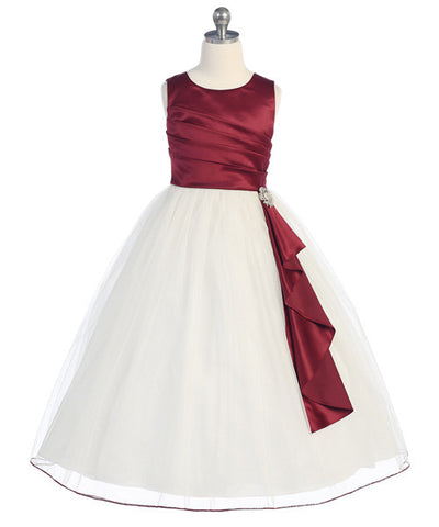 Girls Satin Surplice Burgundy Top Dress
