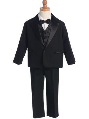 Boys Black Tuxedo With Vest and Bow Tie