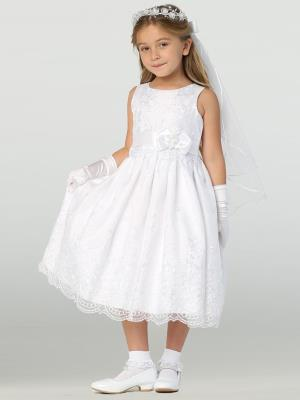 Girls Embroidered Organza Communion Dress