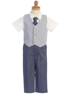 Boys Seersucker Blue Vest and Pant Set