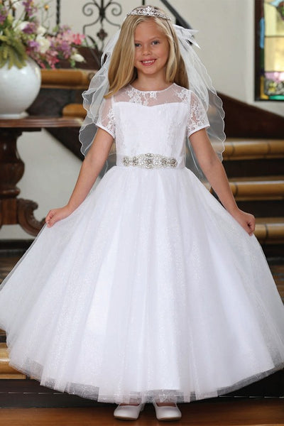 Girls Lace Top and Sparkle Tulle First Communion Dress