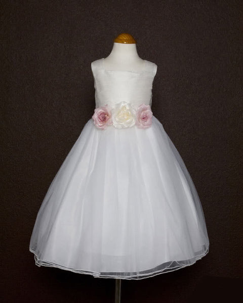 Girls White Dupioni Silk Bodice and Tulle Skirt Dress