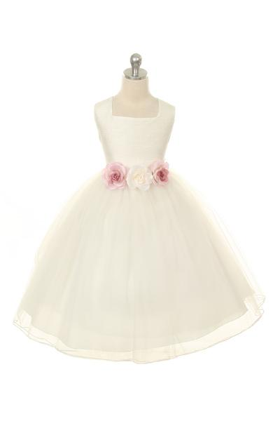 Girls Ivory Dupioni Silk Bodice and Tulle Skirt Dress