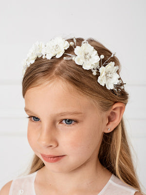 Silk Flower Headband with Rhinestone and Pearls