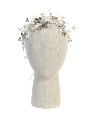 Floral Headpiece with Satin TIes