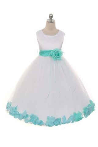 Girls Flower Petal Dress With Sash