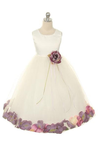 Girls Ivory Flower Petal Satin Dress