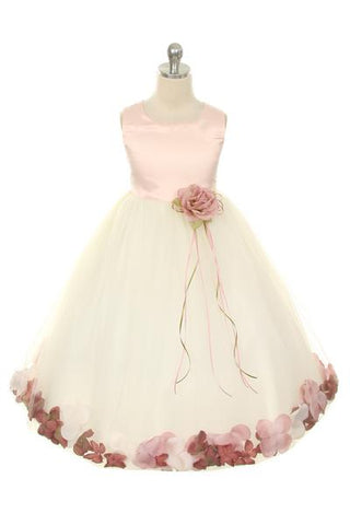 Girls Ivory Pink Top Satin Flower Petal Dress