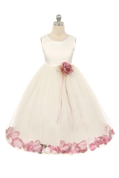 Girls White Satin Flower Petal Dress