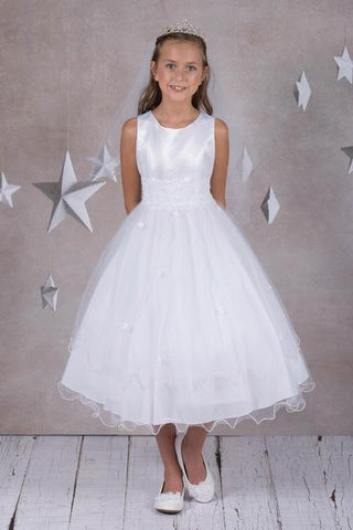 Girls Lace Trim First Communion Dress