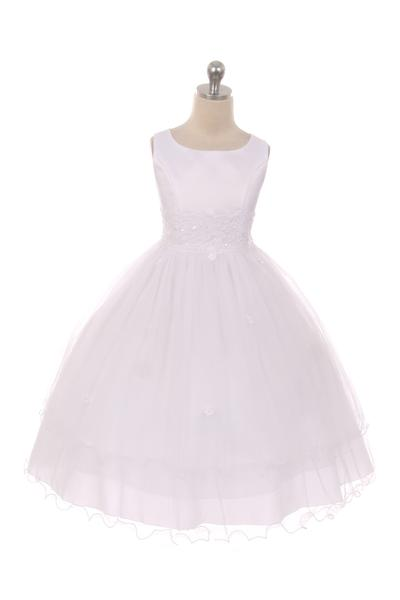 Girls Lace Trim Flower Girl Dress