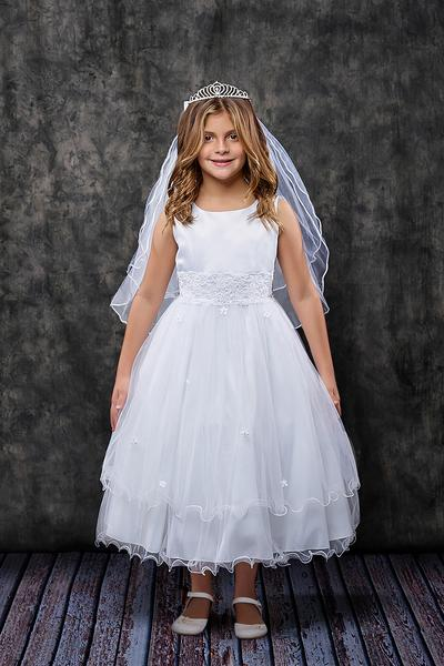 First Communion Pleated Cap Sleeve Long Dress