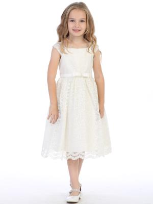 Girls Shiny Lace Flower Girls Dress