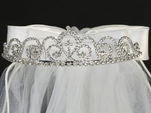 "24"" Veil Scalloped Rhinestone Tiara with Cross"
