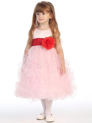 Girls Pink Satin and Ruffled Organza With Color Change Sash/Flower Dress