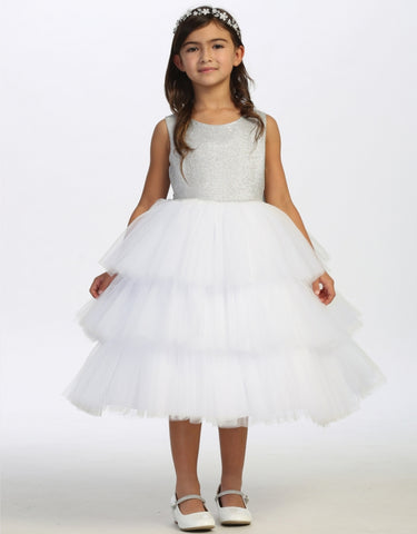 Girls Glitter Bodice Three Layer Tulle Dress