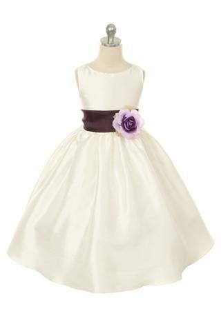 Girls Ivory Poly Silk Organza Flower Girl Dress