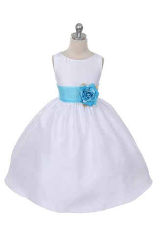 Girls White Poly Silk Organza Flower Girl Dress