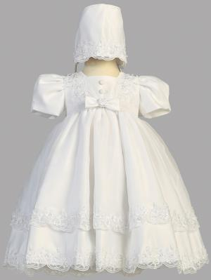 Girls Satin and Organza Baptismal Dress