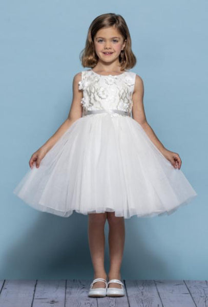 GIRLS BEADED AND LACE FLOWER GIRL DRESS