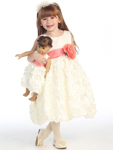 Girls Ivory Satin Floral Ribbon  Dress with Color Change Sash