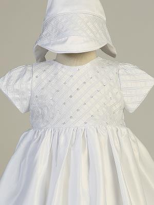 Girls Satin Embroidered Christening Dress