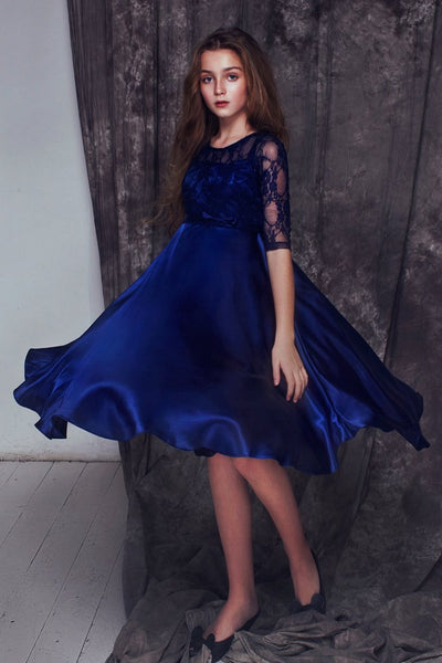 Girls Kelly Lace and Satin Dress