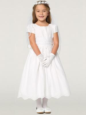 Girls Cotton Eyelet Communion Dress