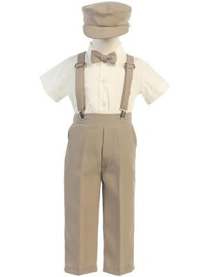 Boys Khaki Suspender Pant Set