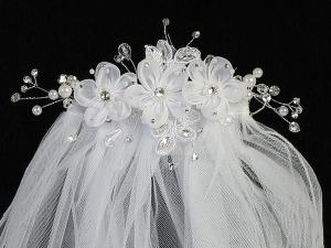 "24""  Organza Flower Veil on Comb Communion Headpiece"